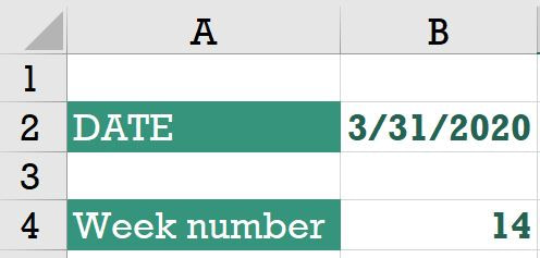 weeknum function in microsoft excel