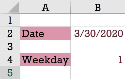 Weekday function in microsoft excel