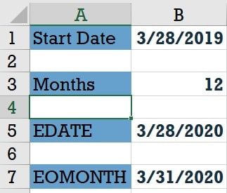 EDATE, EOMONTH functions in Microsoft Excel
